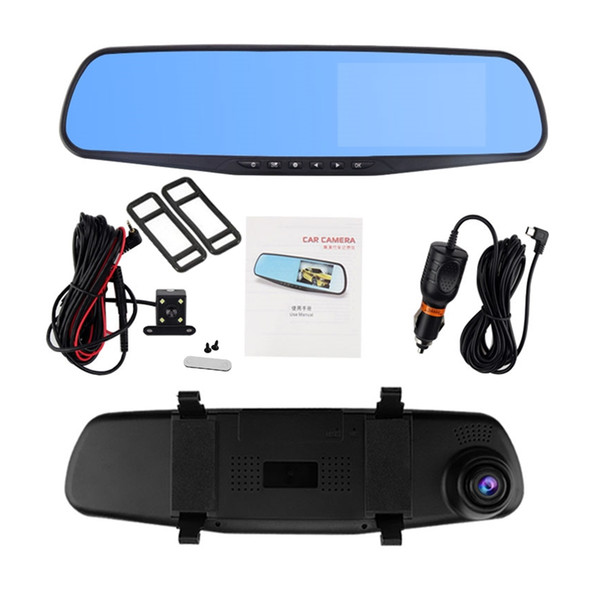 "4.3"" car DVR driving digital recorder 2Ch registrator mirror front 170° rear 120° wide view angle 1080P full HD G-sensor parking monitor"