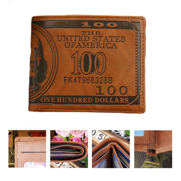 litthing Vintage Men PU Wallets Dollar Figure Print Credit Wallet Clutch PU Money Clip Long Male Purses for Coins Multi Pocket