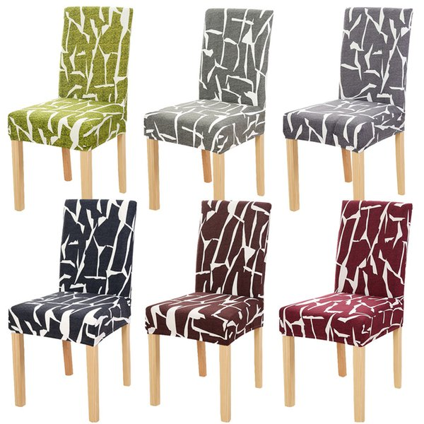 Chair Covers Spandex Stripe Flower Printing Chair Cover Dining Stretch Elastic Universal Seat Cover For Kitchen Home Hotel