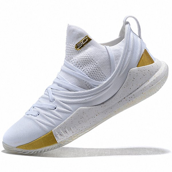 new product b6137 27a4a 2019 New 2019 UA Stephen Curry 5 Men Basketball Shoes Low White Gold Black  Green Yellow Mens Trainers Sneakers US 7 12 From Sneakerssonfire, $110.96    ...