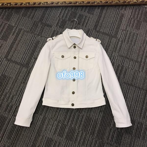 High end women girls denim jacket coat tops high-end custom lapel neck British style Button top jacket cardigan tops coat White blue black