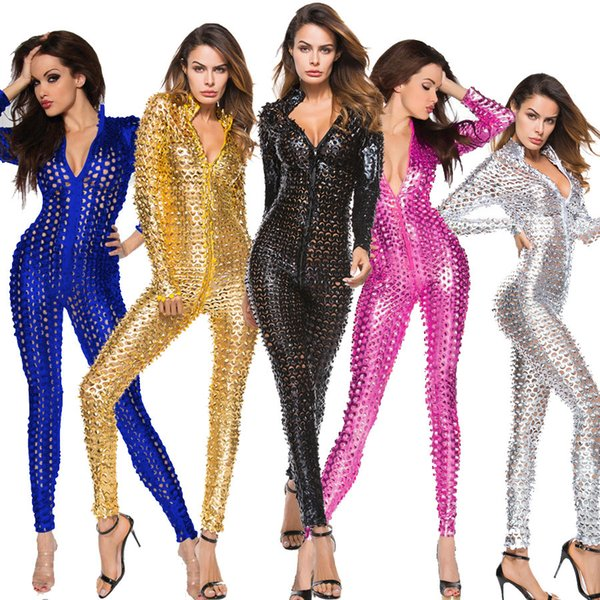 5 Colors Plus Size 3XL PVC Fetish Jumpsuit Sexy Patent Leather Pole Dance Clubwear Metallic Hole 4XL Night Club Catsuit Costume with Cutouts