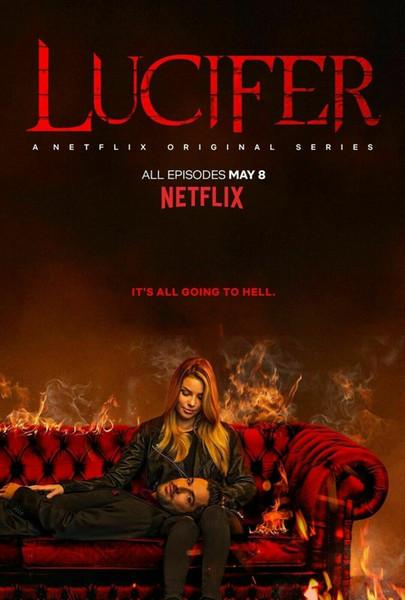 Film Hot 2019 Lucifer affiche Saison 4 séries TV décoration murale Art Diable soie Affiche d'impression 0165