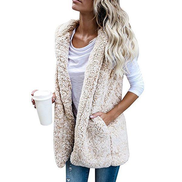 Les femmes manches d'hiver en polaire Manteau Manteau Fluffy Gilet Veste automne Sweats à capuche Fluffy