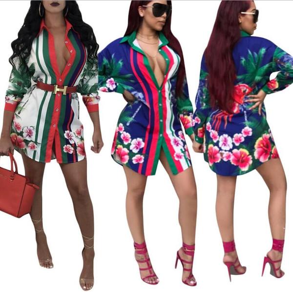 Femmes Designer robes 2019 nouvelle t-shirt lâche robe Sexy manches longues imprimé floral chemise robes club bandage chemises robe S-2XL