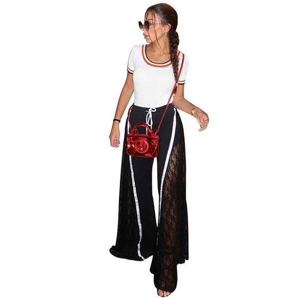 Women Casual Sport Pants Patchwork Hollow Out Long Wide Leg Pant Elastic Waist Lace Up Fashion Sexy Female Trousers