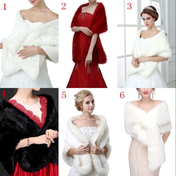 Mix White Black Burgund Braut Hochzeit Cape Stola Kunstpelz Schal Wrap Mantel Frauen Bolero Shrug Coat Hochzeit