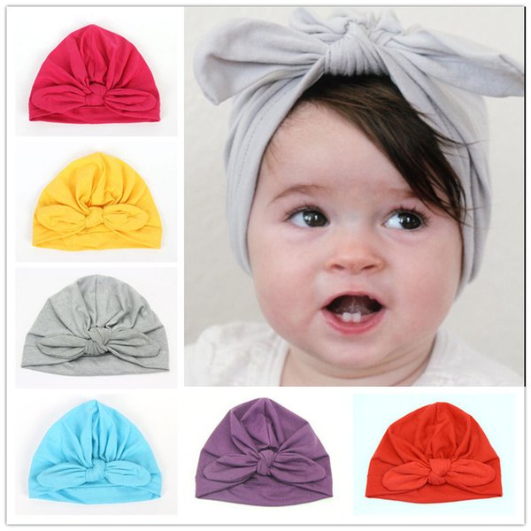 INS Baby Bow Hat Bunny Ear Caps Europe Style Turban Knot Head Wraps Hats 12Colors Infant India Hats Kids Winter Beanie DB0036