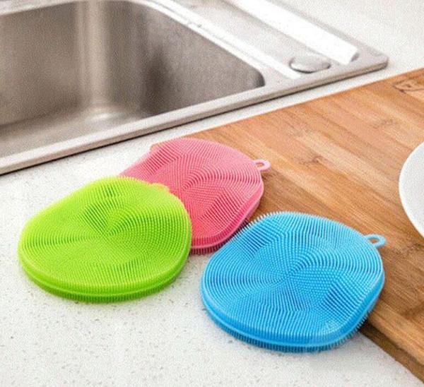 Yeni Sihirli Silikon Çanak Kase Temizleme Fırçaları Ovma Pedi Pot Tava Yıkama Fırçaları Temizleyici Mutfak Silikon bulaşık bezi