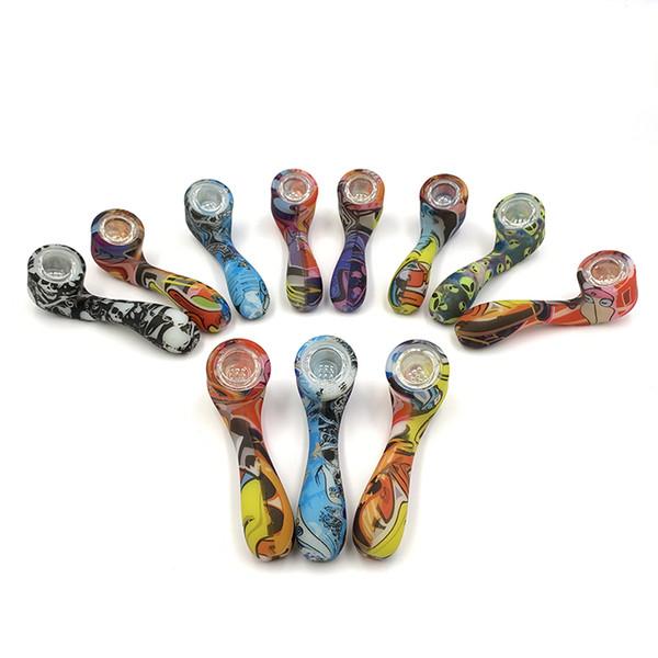 Glow in the Pipes scuro del silicone colorato secco Herb Hand tabacco da pipa di fumo con Hidden Ciotola Pezzo Tipo Bent Spoon Unbreakable Luminous