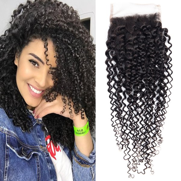 4x4 Free Part Afro Kinky Curly Lace Closure With Baby Hair Peruvian Human Hair 3PCS Closure Dressmaker