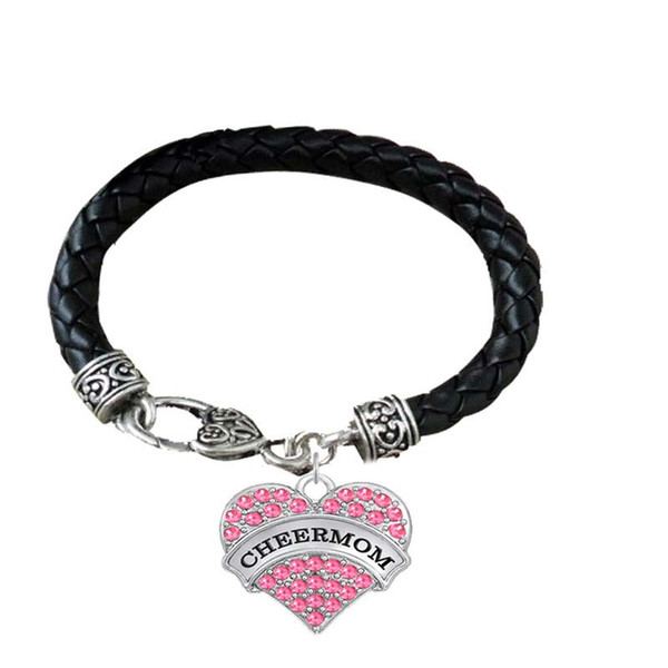 BTT9 Heart shaped Rhodium Plated Crystal Pendant Engrave Letter CONFIRMATION and CHEER MOM Pendant lether Bracelet