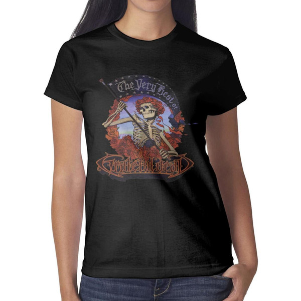 Grateful Dead skull THE VERY BEST OF Women T Shirt black Shirts Custom T Shirts Funny Undershirt Superhero Design Your Own Shirt Black