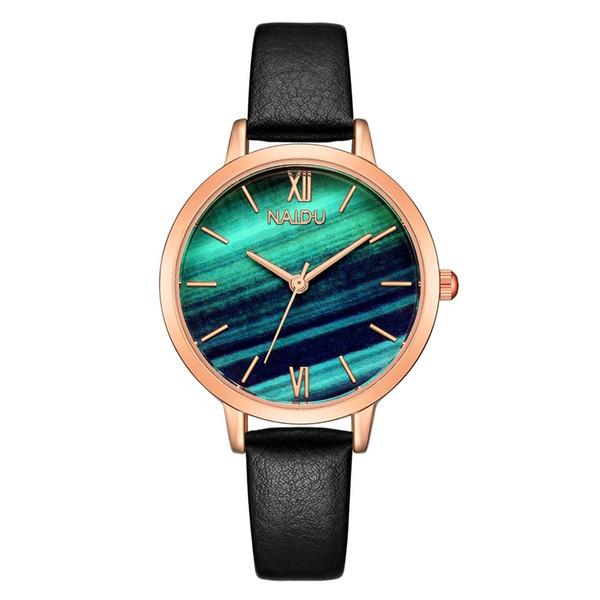 I migliori orologi da donna alla moda di marca Quadrante in marmo Orologio da polso al quarzo femminile Cinturino sottile in pelle casual Orologio Regali Reloj Mujer