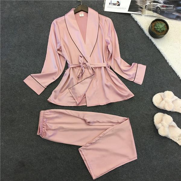 Womens Satin Sexy Bathrobe Women 2017 Pajamas Set New Summer Lace Nightgown Set Sleepwear Pajamas Pijama Feminino Pyjama for women Pijama