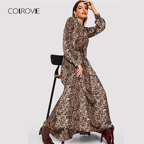 Colrovie змеиной кожи леопардовым принтом винтаж макси платье женская одежда осень с длинным рукавом сексуальная ну вечеринку офис женские платья Y19052803