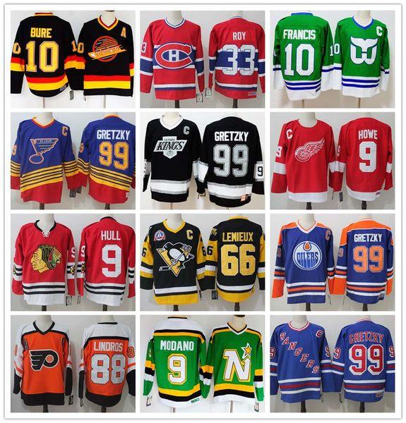 Retro Formalar 9 Gordie Howe GÖVDE 99 Wayne Gretzky 66 Mario Lemieux ROY Lindros ORR Francis Modano Hokeyi Jersey Bure