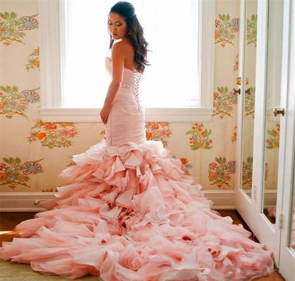 Romantic Ruffles Sweetheart Mermaid Bridal Gowns Lace Up Glamorous Blush Pink Organza Wedding Dresses With belt Custom Made