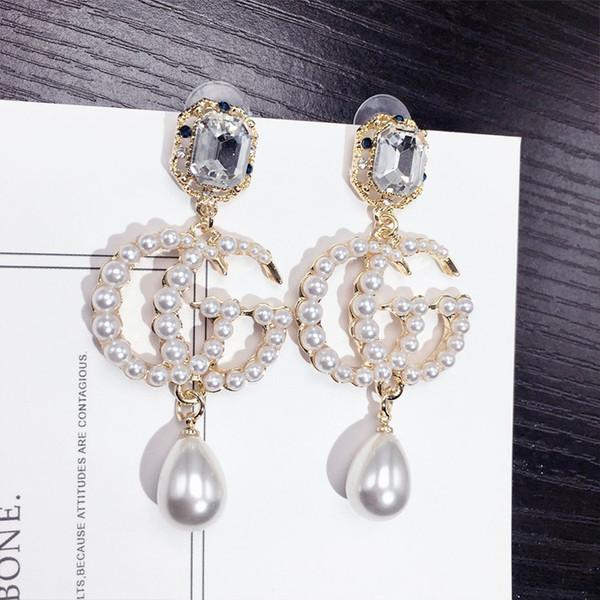 Perle Long Gland Nouveau Marque Designer Stud Boucles D'Oreilles Lettres Oreille Stud Bijoux Accessoires pour Femmes Cadeau De Mariage