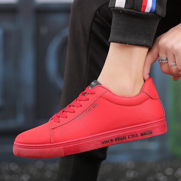 más tarde llegando exuberante en diseño Compre Marca Fooraabo 2018 Zapatos De Hombre Zapatos Negros Casuales  Hombres Primavera Otoño Con Cordones Para Hombre Tenis Moda Hombre Rojo  Zapatos ...