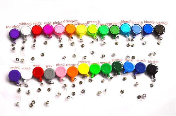 27 colores Badge Reel Retráctil pase de esquí Tarjeta de identificación Badge Holder Llavero Carretes Anti-Perdida Clip Material escolar de oficina