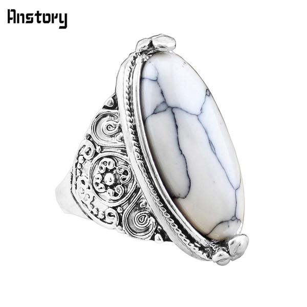anelli di pietra per le donne 5 colori dei fiori della fascia ovali sintetici Anelli turchesi Per argento antico dell'annata delle donne sguardo placcato 5 colori di moda