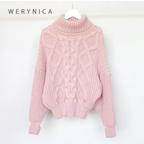 vêtements d'hiver col roulé chandail des femmes Werynica les femmes surdimensionné chandail poluver grand tricot épais femmes de style coréen V191114 chic,