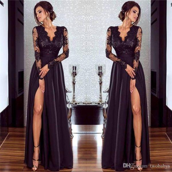 Donne sexy scollo a V Side Split abiti da sera maniche lunghe Appliques Pizzo CG00092BK Long Party Gown Autunno / Inverno Robe De Soiree