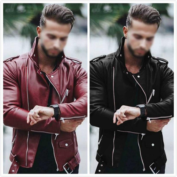 Men Leather Suede Jacket Fashion Autumn Motorcycle PU Leather Male Bomber Jackets Outerwear Coat Faux Coat Drop Shipping