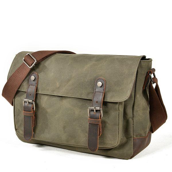 New Shoulder Bags For Men Vintage Canvas Waterproof School Messenger Bag High Quality Solid Man Crossbody Bag Tassen