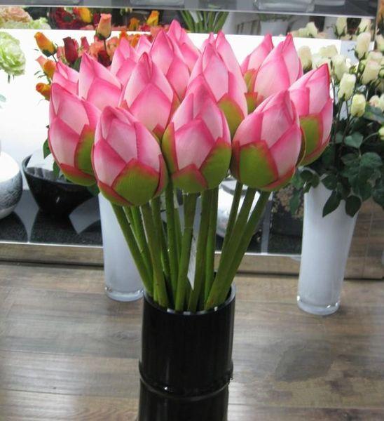 Yapay Çiçek Canlı 78cm Artificail İpek Lotus Bud Otel Ve Restoran Dekoratif Çiçek Yapay Gölet Simülasyon Tesisi EEA549