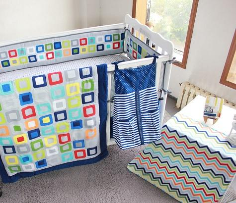 Baby Organizer 9Pcs Crib bedding set Embroidery Colorful Tetris Cot bumper set for baby boy Crib Quilt Cover Bumper Skirt
