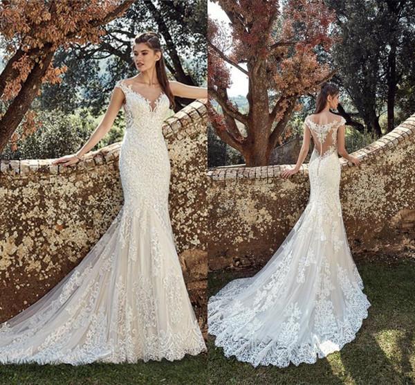 Vestidos de noiva Vestidos de novia Sereia Do Laço Cheia do vintage Vestidos de Casamento Da Noiva Bohemian Sheer Cap Mangas Apliques Trem Da Varredura