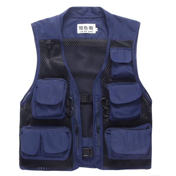 Colete Em Mens Outwear Casaco Multi-bolsos Mesh Vest Volunteer Photographer Fishing