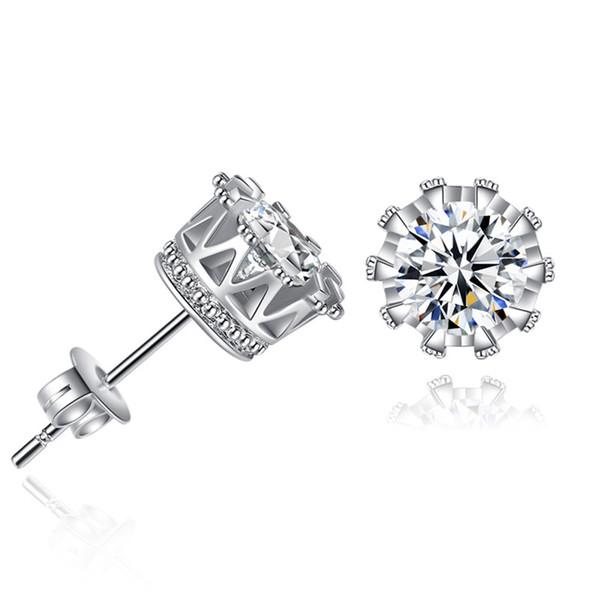 925 Silver Earrings Natural Crystal Zircon Sterling Studs Gold Silver Korean Round Crown Ear Nails Jewelry For Women Men Earrings