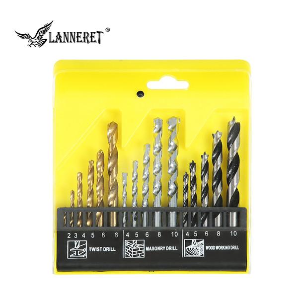 LANNERET Set di punte da trapano HSS 4241 da 16 pezzi per perforazione di plastica in muratura di metallo in metallo per trapano a percussione Scatola di plastica di alta qualità