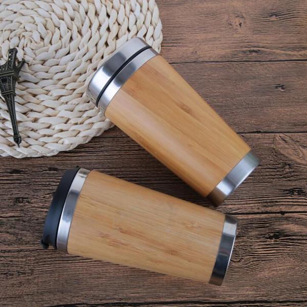 Caneca de aço Inoxidável 450 ml Reutilizável Bambu Eco Caneca de Viagem Café ou Chá xícara com tampa de Aço Inoxidável copo KKA6876