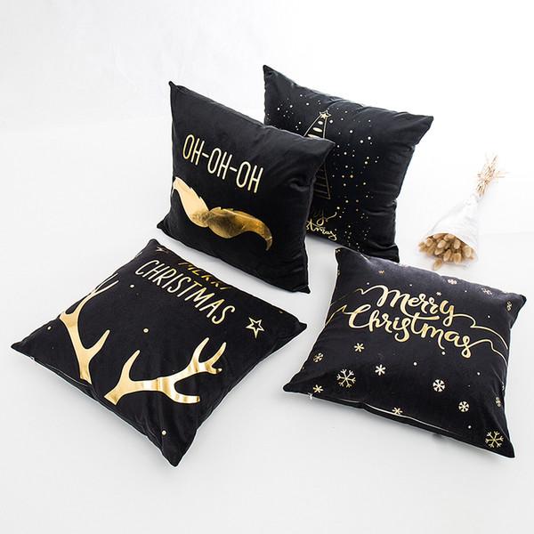Fodera per cuscino Merry Christmas Fodera per cuscino in morbido cotone e lino color oro Cuscino decorativo federa per divano di Natale