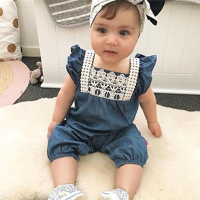 Toddler Baby Kids Girls Abbigliamento Pagliaccetti Denim Harem di pizzo Pantaloncini Jeans Tuta Nuovo arrivo Infant Girl Summer Sunsuits Pagliaccetti