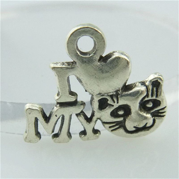 14695 40PCS Alloy Antique Silver Vintage I Peach Heart My Cat Pendant Charm Jewelry Fashion Jewelry Accessory DIY Part