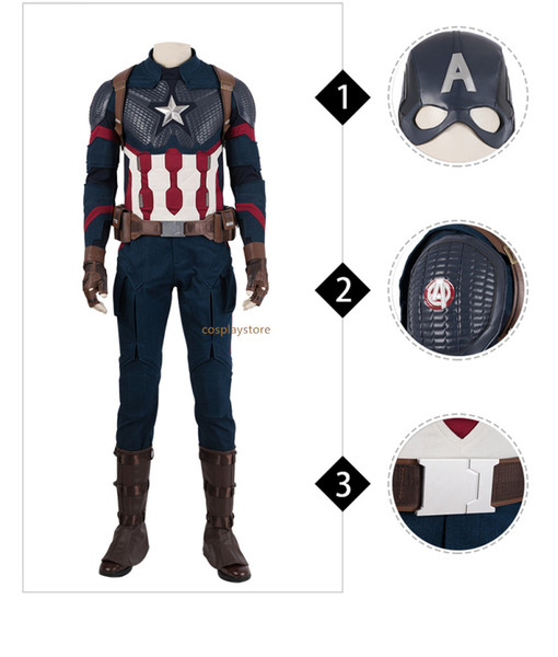 Avengers 4 Endgame Costume Captain America Steven Roger Cosplay Jumpsuit Boots Superhero Halloween Outfit