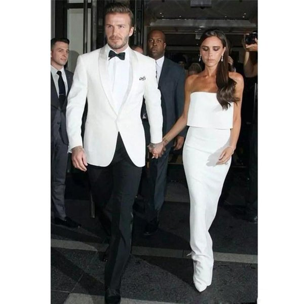 Simple Design Handsome Men Suits Two Pieces (White Coat+Black Pant) Formal Banquet Suits With Shawl Lapel One Button Wedding Men Wear