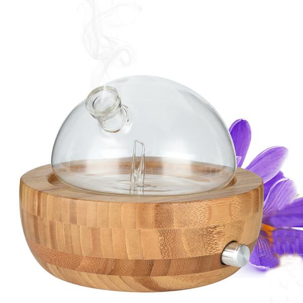 Humidificateur à diffuseur d'aromathérapie à nébuliseur d'huile essentielle en verre de bambou