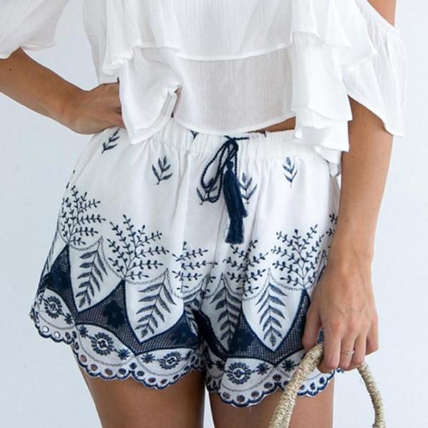 Calças Curtas Mulheres Branco 2019 Pant Summer Lace Bordados Bohemian Calções Casual Shorts -30