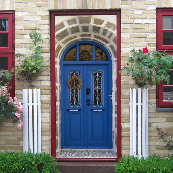 2Pcs/Set Muslim Culture Flower Vine Door Sticker Wooden Door Furniture Decoration Background Wall PVC Waterproof Self-Adhesive Door Sticker
