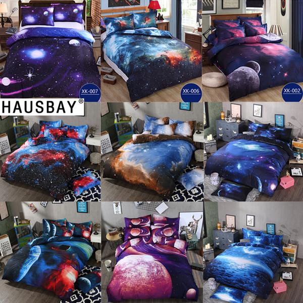 Bedding Sets Universe Outer Space Themed Bed Linen 3D Galaxy Duvet Cover Flat Sheet 2pcs/3pcs/4pcs Single Double Size BS005