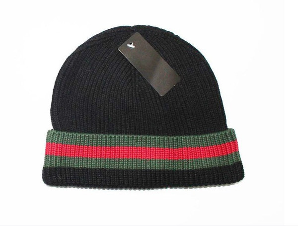 hot Designer Skullies Caps Beanies for men women Luxury Beanies knitted skateboard skull caps Green with red striped hats with original tag