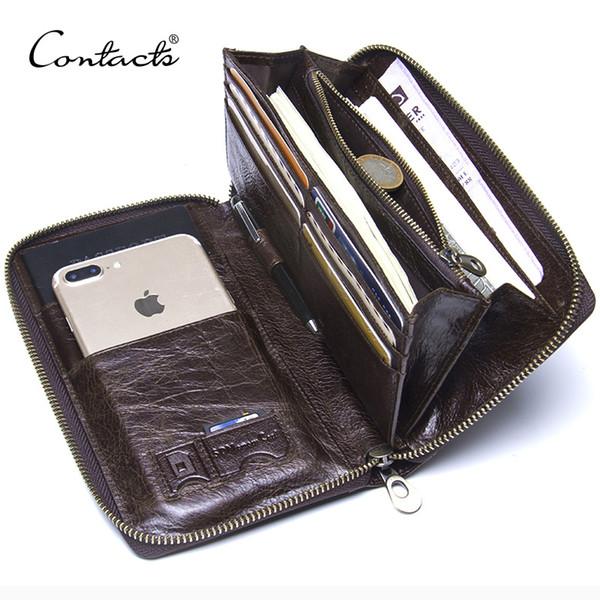 Cuoio genuino degli uomini frizione portafoglio marca maschio titolare della carta lungo cerniera intorno borsa con supporto passaporto 6.5