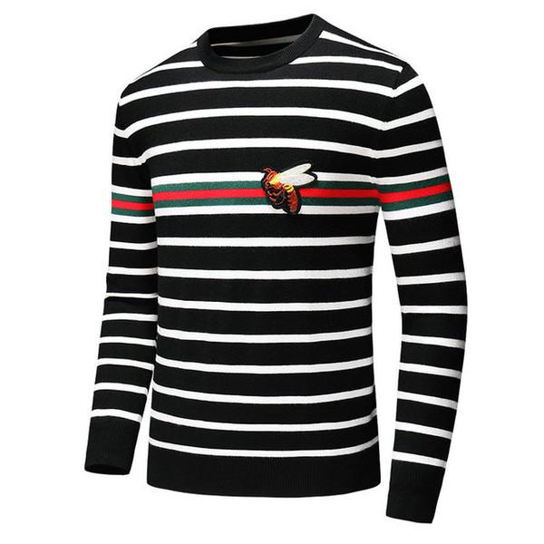 2019 pull de haute qualité 100% cachemire col rond rayé luxe jumper mens designer pull pull designer pull asiatique p7 taille m-3xl