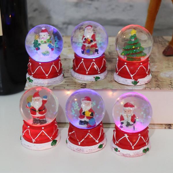Navidad bola de cristal luminosa intermitente Santa Claus decoración de la resina niños de los niños de Navidad Suministros LA205 regalo de cumpleaños